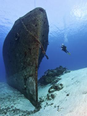 Diver Exploring the Felipe Xicot?Ncatl Shipwreck in Cozumel, Mexico