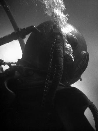 Diver Wearing Deep Sea Diving Suit in the Water