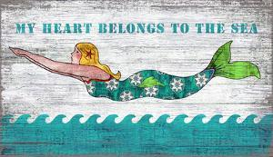 Diving Mermaid My Heart Belongs To The Sea Wood Sign