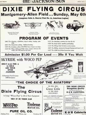Dixie Flying Circus Program Poster