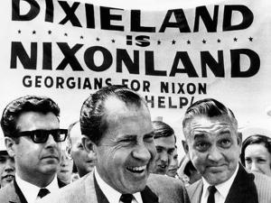 'Dixieland Is Nixonland', Reads a Big Sign Behind Republican Presidential Candidate, Richard Nixon