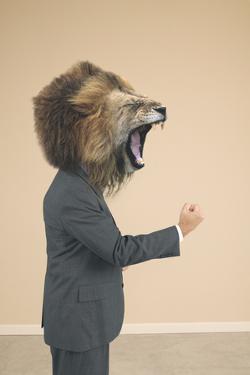 Lion Headed Businessman Roaring by DLILLC