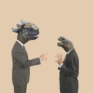 Reptile Headed Businessmen Talking by DLILLC