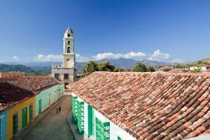 A Roof Top View of Colorful Buildings and the Bell Tower of Museo Nacional De La Lucha Bandidos by Dmitri Alexander