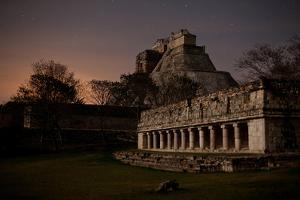 The Pyramid of the Magician and the Governor's Palace Mayan Ruins Under a Star Filled Sky by Dmitri Alexander