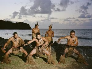 Young Men Perform a Traditional Haka or Warrior Dance in the Marquesas Islands by Dmitri Alexander