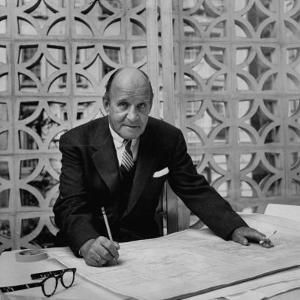 Architect Edward D. Stone Sitting in His Office by Dmitri Kessel