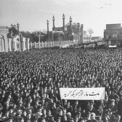 Group of Iranians Protesting Against the Oil Rights in Iran