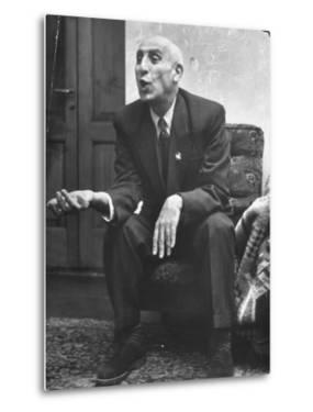 Iranian Premier Mohammed Mossadegh Gesturing During Interview by Dmitri Kessel