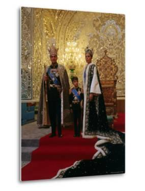Shah of Iran, Mohamed Reza, Posing with Son Prince Reza and Wife Farah by Dmitri Kessel