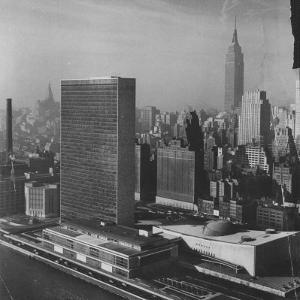 Sky Shot of the Un Headquaters and the Empire State Building by Dmitri Kessel