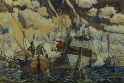 Peter I and Lefort (The Fleet of Peter I on Lake Pleshcheyev), 1927