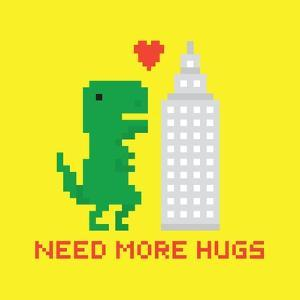 Need More Hugs T-Rex and Skyscraper by dmitriylo