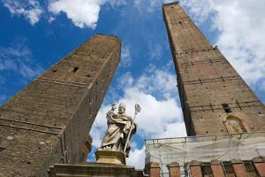 View to the Famous Asiinelli and Garisenda Towers in Bologna Italy. by Dmitry Chulov