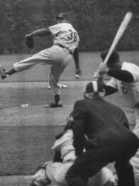 Dodger Don Newcombe Leaning with His Arm Cocked Back for the Pitch