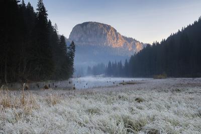 Red Lake and Suhardul Mara-Massif at Dawn, Cheile Bicazului-Hasmas Np, Transylvania, Romania