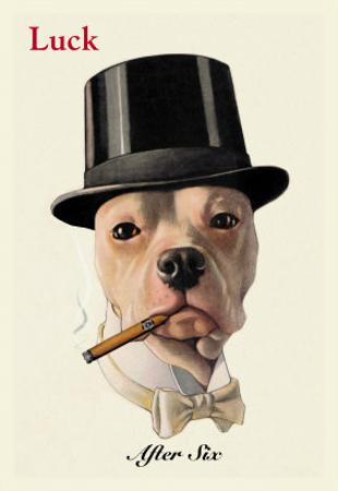 Dog in Top Hat Smoking a Cigar