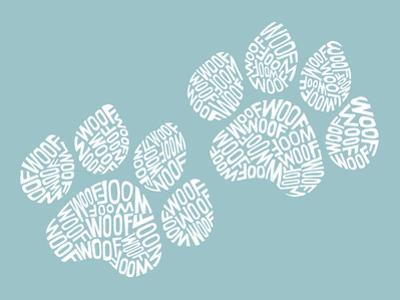 Dog Paw Prints - Woof