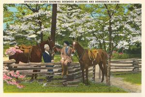 Dogwood Blossoms, Horses
