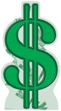 Dollar Sign Lifesize Cardboard Cutout