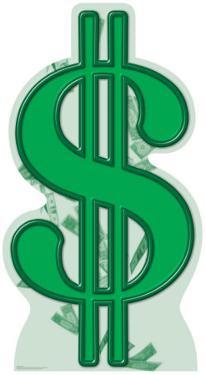 Dollar Sign Lifesize Standup