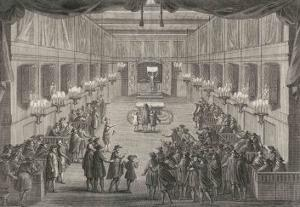 Interior of a Synagogue, The Rabbi Blesses the People by Dom Augustin Calmet