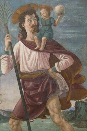 Saint Christopher and the Infant Christ Mural by Domenico Ghirlandaio