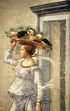Woman Carrying Fruit, from the Birth of St. John the Baptist (Detail) by Domenico Ghirlandaio