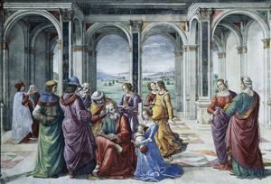 Zacharias Writes Down the Name of His Son by Domenico Ghirlandaio