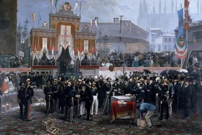 Ceremony for Laying of Foundation Stone of Galleria Victor Emmanuel II in Milan, March 7, 1865