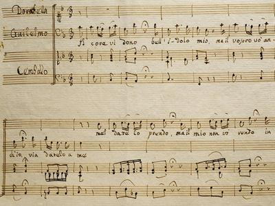 Music Sheet of the Spring, Serenade for Four Voices Dedicated to the Four Seasons, 1720