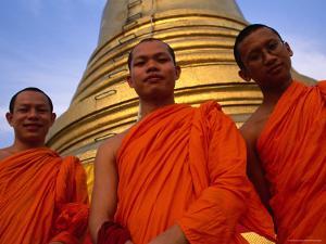 Monks in Front of the Golden Mount, Wat Saket, Bangkok, Bangkok, Thailand by Dominic Bonuccelli
