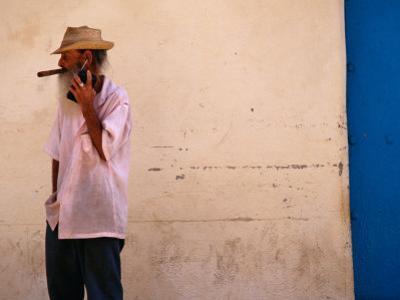 Old Man with Transistor Radio and Cigar, Havana, Havana, Cuba by Dominic Bonuccelli
