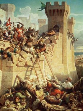 Guillaume De Clermont Defending Ptolemais (Acre) in 1291, 1845 by Dominique Louis Papety