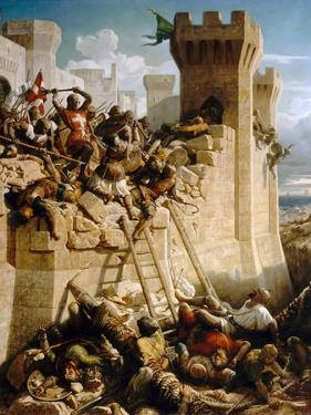 Guillaume De Clermont Defending the Walls at the Siege of Acre, 1291 by Dominique Papety