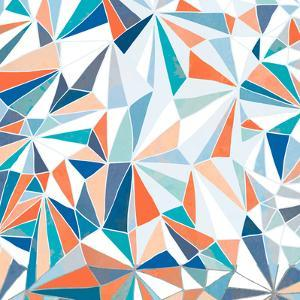 Geometric Pattern - Orange, Teal and Blue 2 by Dominique Vari