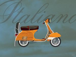 Italiano Vespa Orange on Blue by Dominique Vari