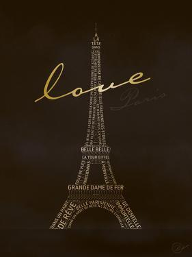 Love Paris - Black and Gold by Dominique Vari