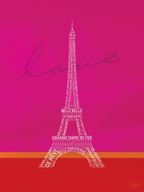 Love Paris - Pink and Red by Dominique Vari