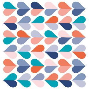 Mid Century Modern Heart Pattern - Orange, Teal and blue by Dominique Vari