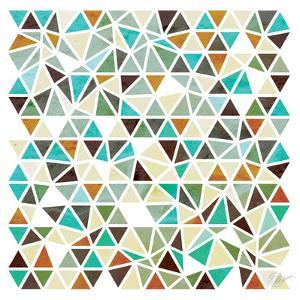 Triangles - Gold and Turquoise by Dominique Vari