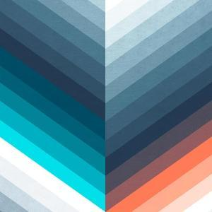 Vertical Chevrons Pattern - Teal, Orange, Blue Gradient by Dominique Vari