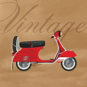 Vintage Vespa Red by Dominique Vari