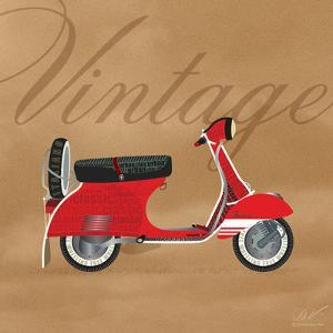 Vintage Vespa Red by Dominique Vari
