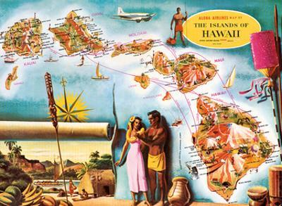 Aloha Airlines Route Map of the Hawaiian Islands by Don Allison