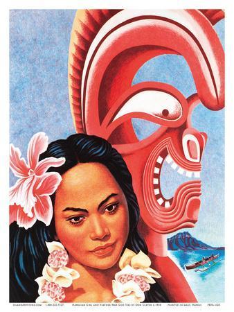 Hawaiian Girl and Feather War God Tiki - American President Lines