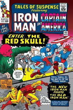 Tales Of Suspense No.65 Cover: Iron Man, Captain America, Bucky and Red Skull Swinging by Don Heck