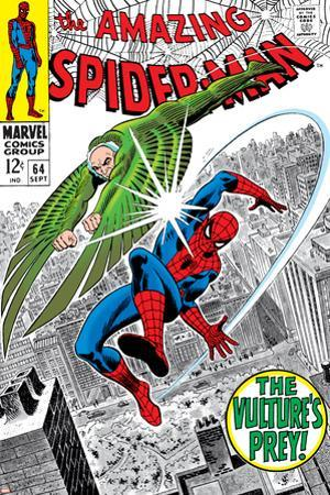 The Amazing Spider-Man No.64 Cover: Vulture and Spider-Man Fighting by Don Heck