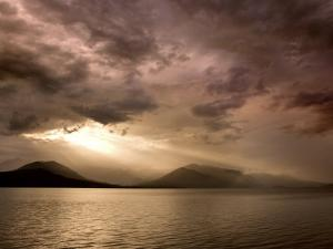God Rays Shine Through Over Hood Canal, Seabeck, Washington, USA by Don Paulson
