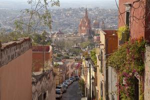 Mexico, San Miguel de Allende. Street scene with overview of city. by Don Paulson